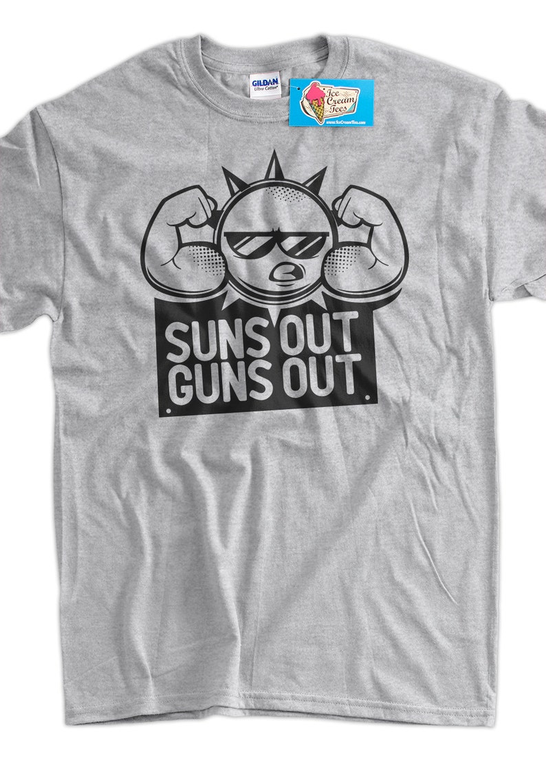 8de744f30ea3fa Funny Work Out Shirt Suns Out Guns Out Tshirt Gym Weight