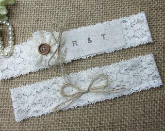 Bride & Groom Initials ,Rustic Country Chic Wedding Garter Set,Wedding Garters