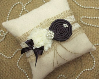 Rustic Country Chic Eggplant Wedding Ring Pillow~Rustic Wedding Decor, 8 x 8 inch Ring Bearer Pillow
