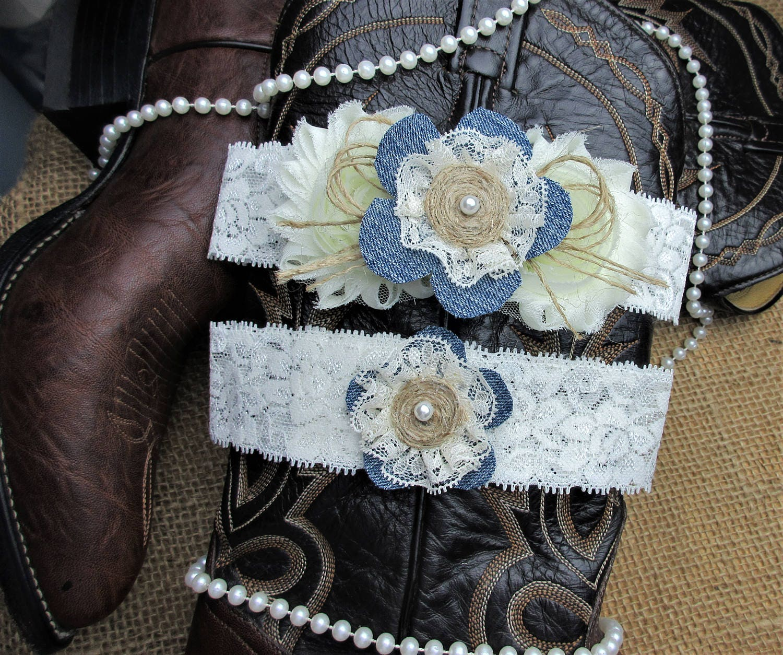 Country Wedding Garters: Denim Burlap Country Chic Wedding Garter SetRustic
