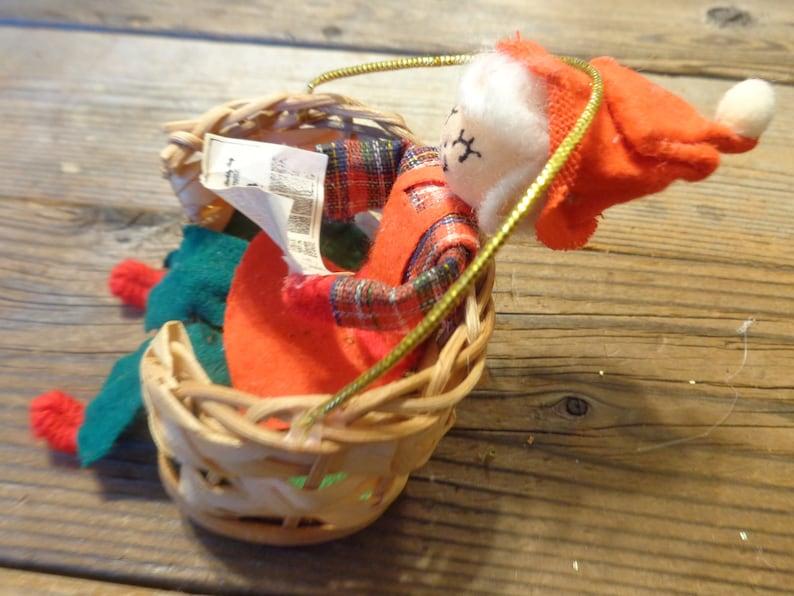 Spun Cotton Head Elf Ornaments Vintage Elf Vintage Christmas Ornaments Vintage Elf Sitting In A Basket Christmas Ornament 1970/'s