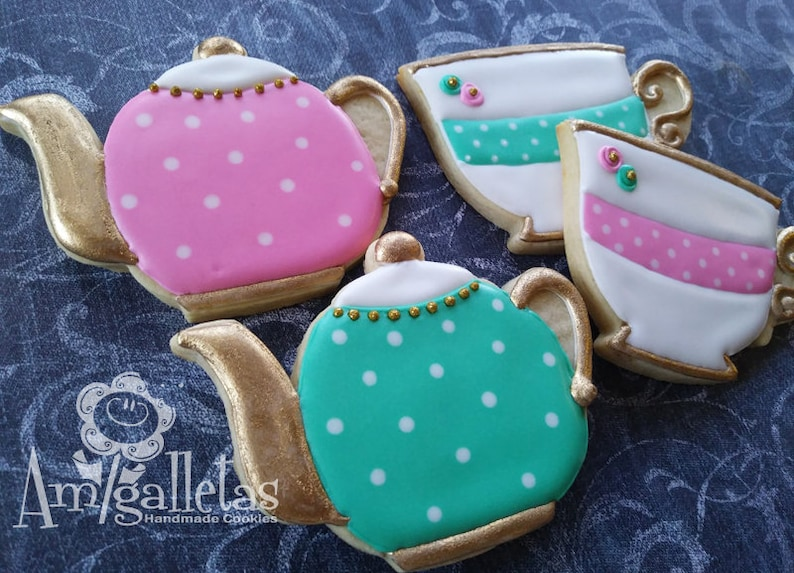 Tea Party Sugar Cookies /Teacup cookie  1 dozen image 0
