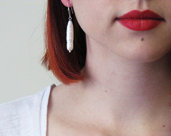 White Biwa Pearl Earrings with Sterling Silver Hardware