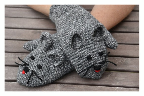 Donker Grijze Muis Mittens Haken Wanten Muizen Handschoenen Etsy