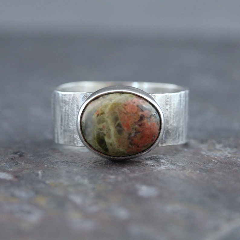 beautiful Unakite gemstone handmade silver plated ring