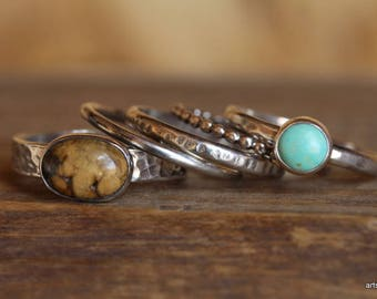Natural Turquoise Ring. Sterling Silver Stacking Ring. Turquoise Stacking Ring. Turquoise Jewelry. Raw Silver Ring. December Birthstone