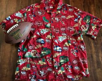 c6d2eb2e6 NFL Hawaiian shirt San Francisco 49ers ~ vintage Hawaiian shirt Large