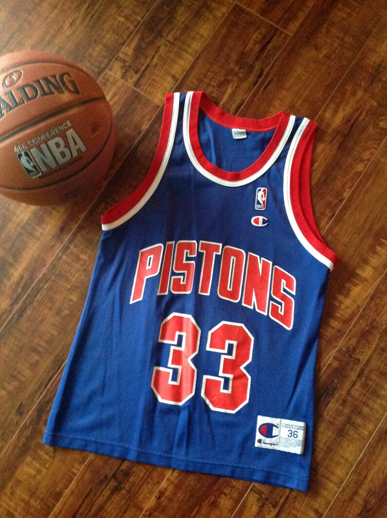separation shoes 5adbf d3d3a Throwback jersey ~ Champion Grant Hill #33 jersey ~ Retro Detroit pistons  Blue Champion jersey ~ NBA Champion jersey