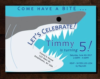 Custom Shark Birthday Party Invitation O Customized With Your Nameagelocation And You Print As Many Like