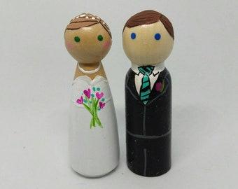 Bride and Groom Wooden Peg Dolls