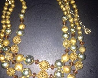 Glamorous 1950s Multi Strand Gold Metallic Bead Necklace
