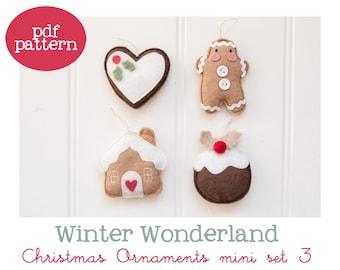Pdf pattern (Cartamodello) - Winter Wonderland Christmas ornaments mini set #3 - includes instructions to make 4 felt Christmas ornaments