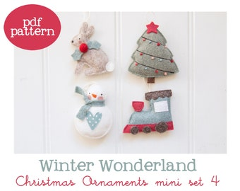 Pdf pattern (Cartamodello) - Winter Wonderland Christmas ornaments mini set #4 - includes instructions to make 4 felt Christmas ornaments