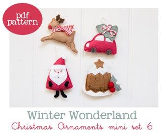 Pdf pattern (Cartamodello) - Winter Wonderland Christmas ornaments mini set #6 - includes instructions to make 4 felt Christmas ornaments
