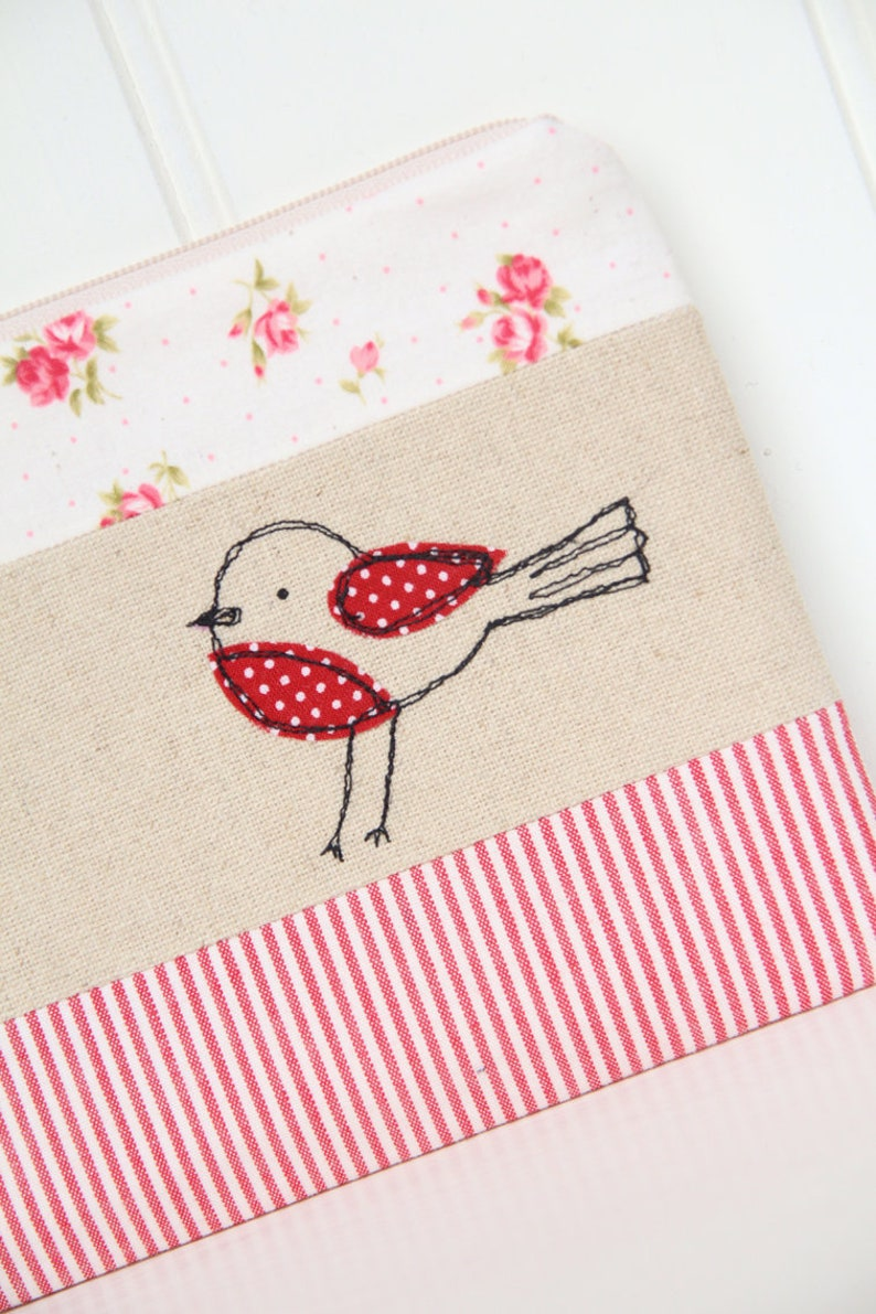 red and ecru pencil case zakka style Sweet robin bird pouch