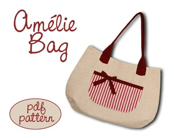 Pattern (Cartamodello) - Amélie bag - a very spacious and sweet tote bag - pdf pattern