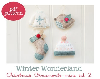 Pdf pattern (Cartamodello) - Winter Wonderland Christmas ornaments mini set #2 - includes instructions to make 4 felt Christmas ornaments