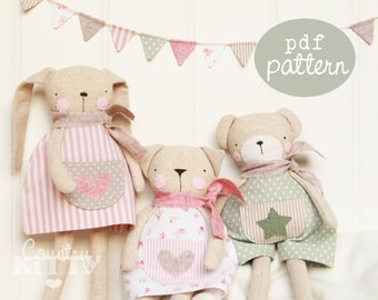 Pattern (Cartamodello) - Sweet softies - a pdf pattern to make three different lovely softies: a bunny, a cat and a bear!