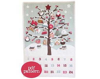 Pdf pattern (Cartamodello) - Winter Wonderland Advent calendar - instructions to make a wintry panel scene and 24 felt Christmas ornaments