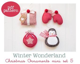 Pdf pattern (Cartamodello) - Winter Wonderland Christmas ornaments mini set #5 - includes instructions to make 4 felt Christmas ornaments