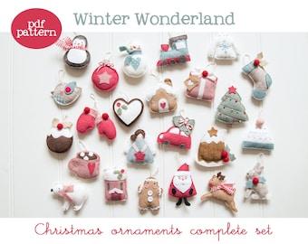 Pdf pattern (Cartamodello) - Winter Wonderland Christmas ornaments set - includes instructions to make 24 felt Christmas ornaments