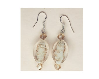 Clear glass speckled gold bead sterling silver earrings with Swarovski mini rhombus beads.