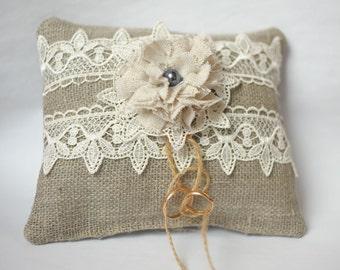 ring bearer wedding ring pillow pillow Pillow Ring Rustic Wedding Linen Flower Fabric Cotton Lace