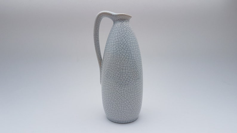 Mid 1950s Ruscha vase with a white crackled glaze image 0