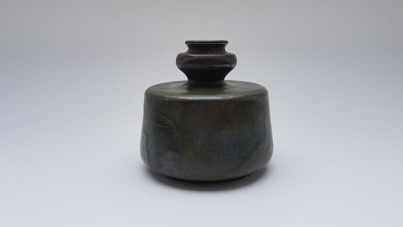 Stylish dark green glazed studio vase image 0