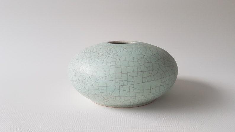 Light blue craquelle glazed studio vase image 0