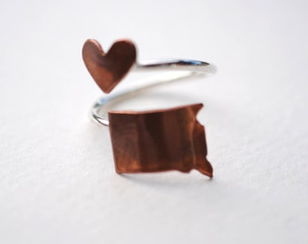 South Dakota State Twist Place Ring (Sterling Silver & Copper Place State Love Map Ring)