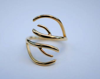 Antler Yellow Gold Thicker Roots Ring