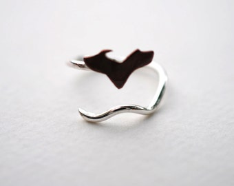 Michigan Upper Peninsula Roots Twist State Ring (Sterling Silver & Copper Ring)
