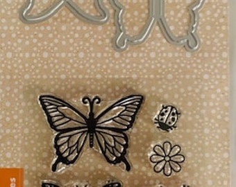 Design Block Butterfly Used Rubber Stamp View all of the photos Hero Arts S5041