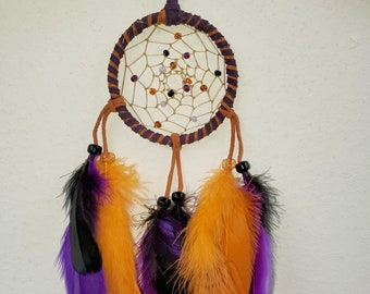 Native American Halloween Purple and Orange Twisted Leather Dreamcatcher