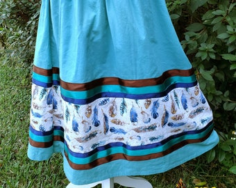 Native American Sea Green and Feather Fabric Ribbon Skirt