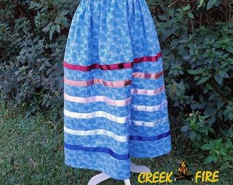 Native American Blue and Pink Ribbon Skirt