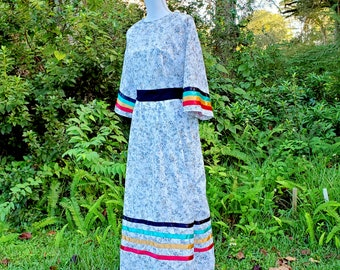 Native American Made White Ribbon Dress - Size X Large (Only)- Light Weight Thin Fabric