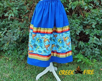 Native American Blue with Turtles Ribbon Skirt
