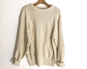 08cb1cbd0 Vintage SWEATER Women Vintage Sweater MEN CABLE Knit Sweater Men Cable Knit  Sweater for Women Oversized Sweater Oversized Sweaters for Women