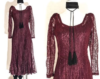 90s Clothing 90s VINTAGE Clothing 90s DRESS GRUNGE Clothing 90s Grunge Clothing Long Sleeve Dress Lace Maxi Dress Maxi Dress with Sleeves S