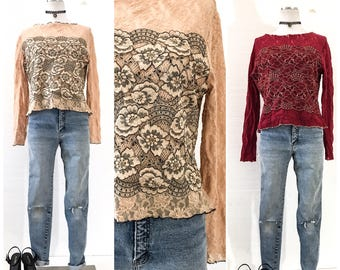 90s Clothing Women 90s VINTAGE Clothing LACE TOP Lace Tops for Women Lace Top with Sleeves 90s Top Vintage Lace Blouse 90s Grunge Clothing