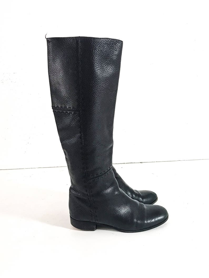 5c2fb11a7fe9 Vintage FENDI SHOES FENDI Boots Black Leather Boots Women Knee | Etsy