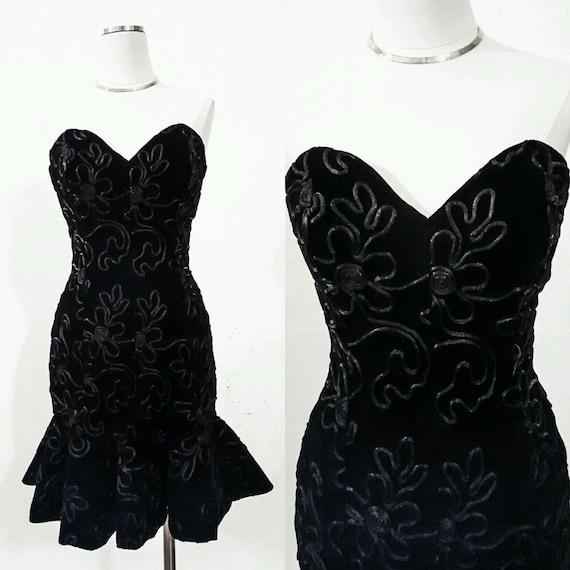 80s Vintage Dress 80s Vintage Designer Dress Black