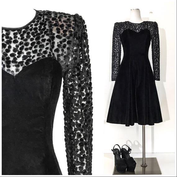 80s Vintage Dress 80s Dress Vintage Black Velvet D