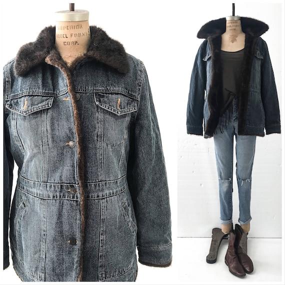 Vintage Denim Jacket Women Fur Lined Denim Jacket Vintage Etsy