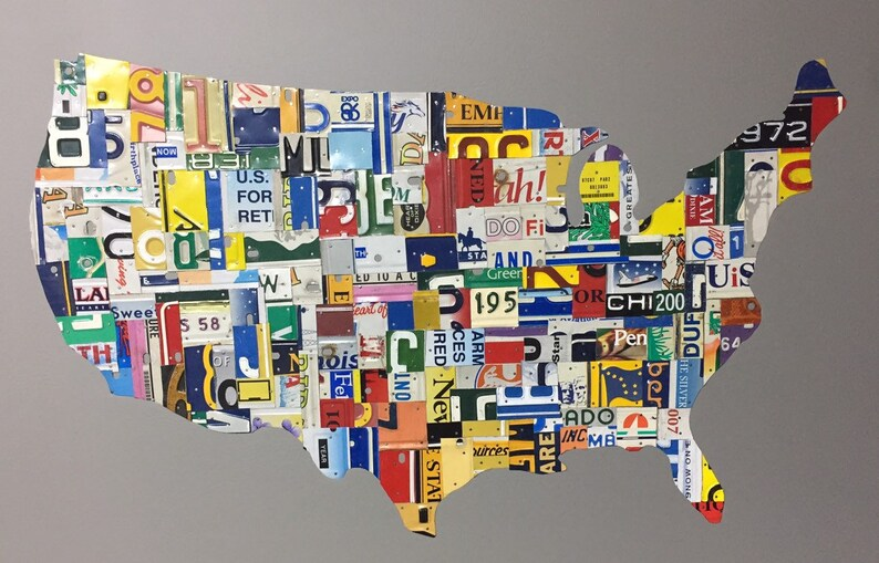 Us Collage Map 40x26 Recycled Handmade License Etsy - Us-map-license-plates