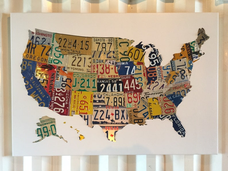 Us Map 58x40 Recycled Handmade License Plate Wall Etsy - Us-map-made-out-of-license-plates