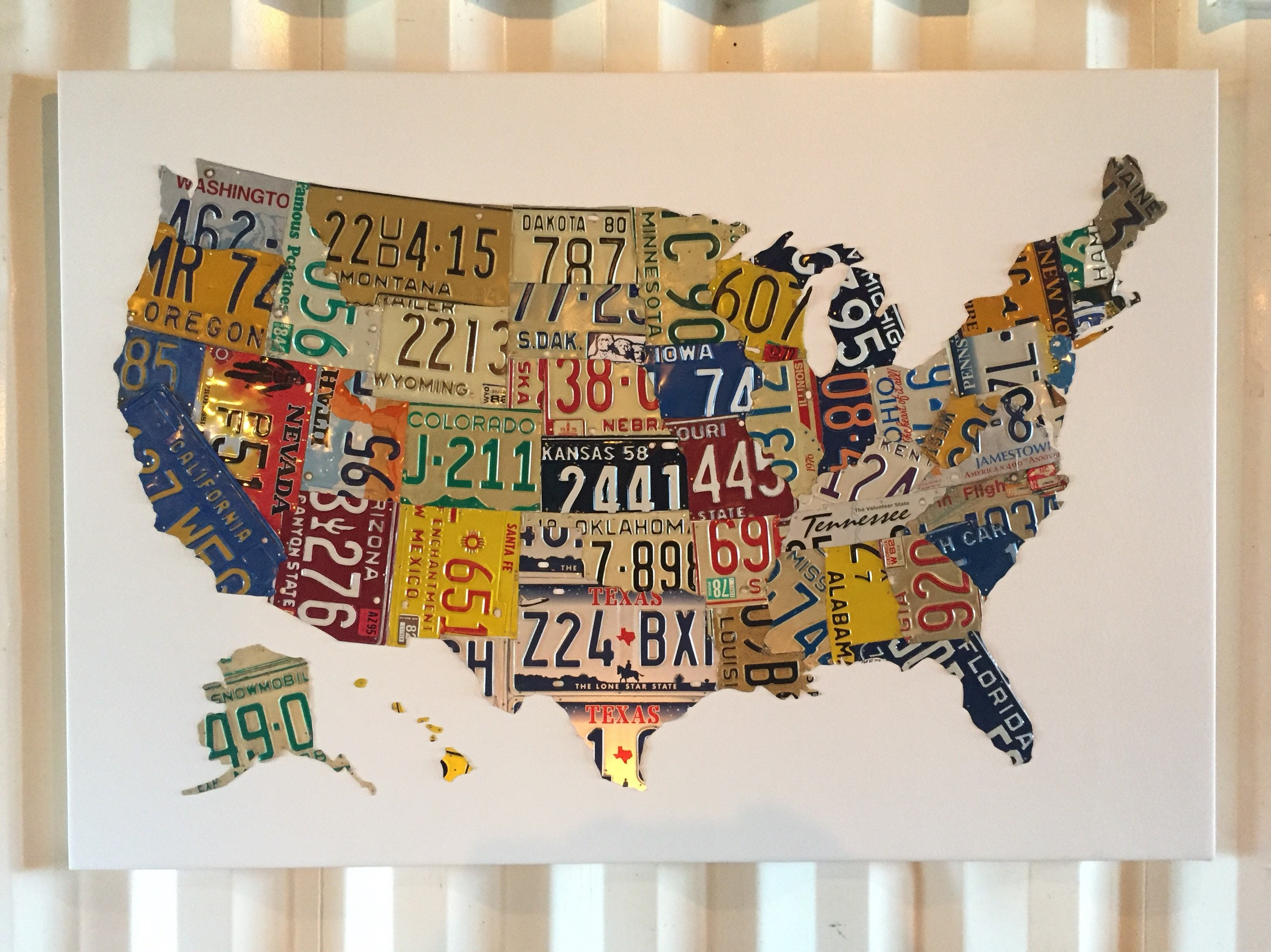 United States Map Made Out Of License Plates on using map of missouri license plates, united states map printable pdf, united states license plate game, 50 states license plates, united states map with scale, us map made of license plates, united states license plate designs, united states map art, united states licence plates, united states license plates 2014, united states map printout, furniture made from license plates,