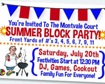Summer BBQ Party Invites 4th of July Block Party Flag